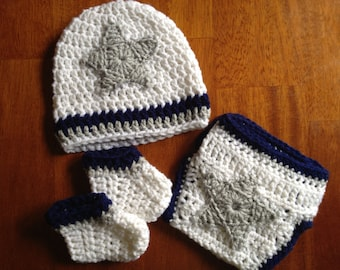 Dallas Cowboys Theme Football Baby Crochet Gift Set
