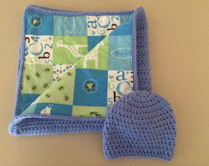 Baby Basics Blue Newborn Blanket with Beanie Afghan Throw Fabric Lined Crochet 22x22