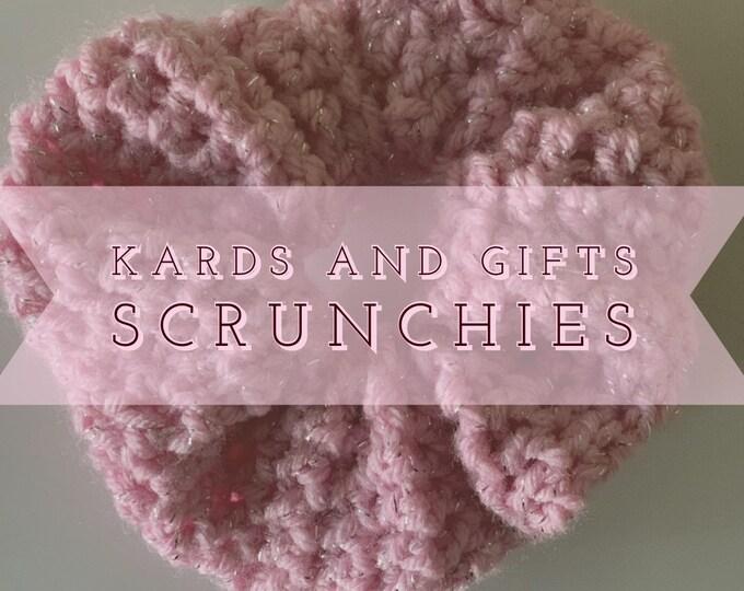 Sparkle Pink Crochet Scrunchie / Handmade / Hair Tie Accessories