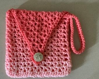 Peach Wristlet Small Purse Bag / Wallet / Crochet Handmade