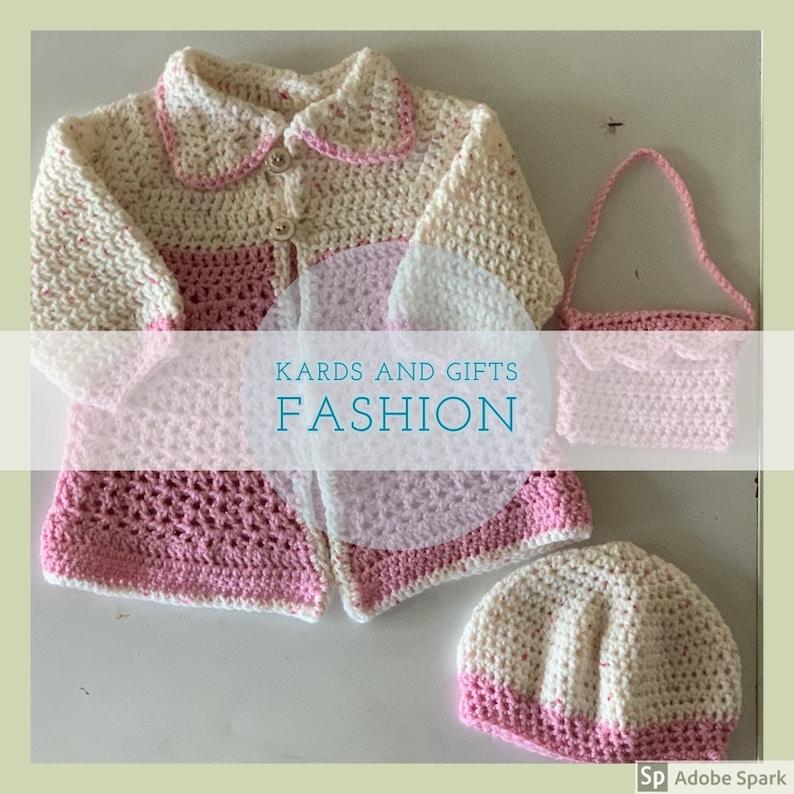 Pink Girls Dress Coat Set  Beret Coat /& Purse  Size 12 months  Handmade Crochet