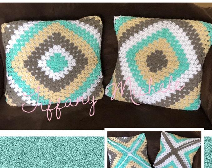 Handmade Crochet Large Decor Pillows / Home Decor / Set of 2