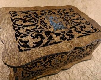 Peacock decorative scrollwork box