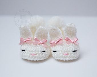 Bunny Boo baby slippers newborn to 12 months - Spring - baby shower gift - Easter