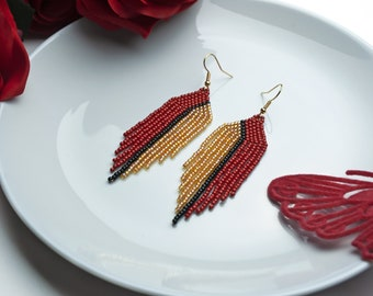 Red gold earrings Elegant earrings Fringe earrings Dangle earrings Beaded earrings Seed bead earrings Beadwork Valentine gift for her