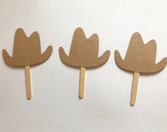 """24 Cowboy Hat Cupcake Toppers 