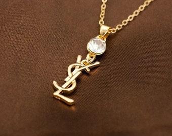 7e952b91199 Vintage YSL Necklace Gold Plated , Yves Saint Laurent Pendant , 1980 YSL