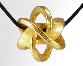 Soliton Pendant -- elegant geometry jewelry in 3d printed steel, gold or bronze finish