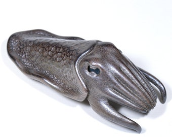 Cuttlefish Bottle Opener -- pewter finish sculptural beer opener in 3D printed steel