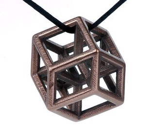 Hypercube Pendant -- elegant geometry jewelry in 3D printed steel, gold or bronze finish