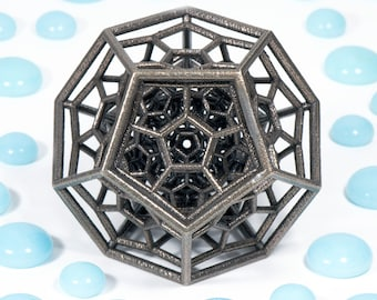 The 120-Cell Sculpture -- math geometry art in 3D printed steel, bronze finish