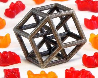 Hypercube Sculpture -- elegant math geometry art in 3D printed steel, handheld or keychain size