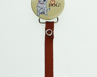 RDOG MSRP 19.00 I Love My Dog Pacifier Clip with Matching Ribbon