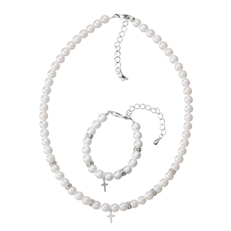 GSN30 White Czech Glass Pearls with Silver Filled Cross Keepsake Bracelet and Necklace Gift Set