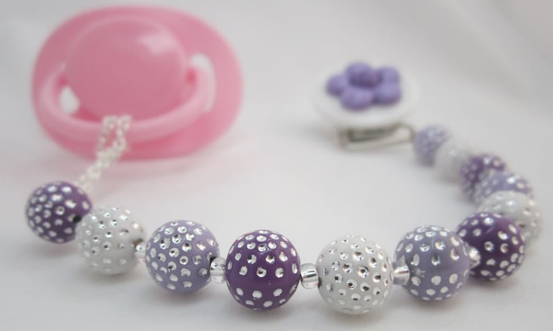 CPPU MSRP 24.00 Purple Daisy Pacifier clip with Stunning Pastel Beads