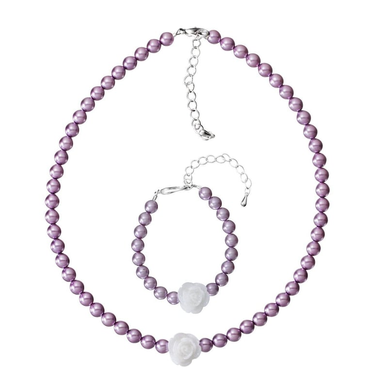 GSNB36 Violet Czech Glass Pearls with Resin Flower Handmade Bracelet and Necklace Gift Set