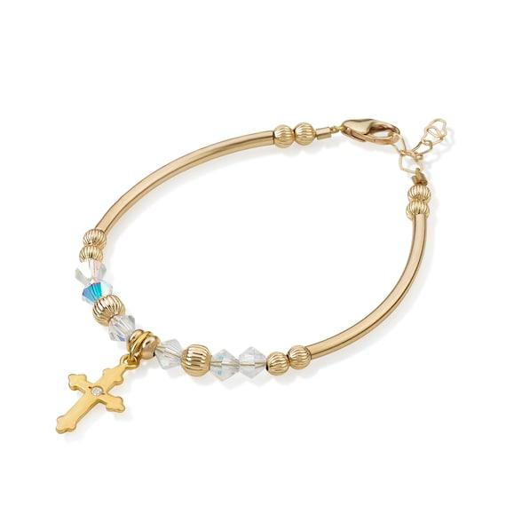 Baby Cross Charm Gold Baby Bracelet 14K Gold Personalized Baby ID Bracelet Cross and Heart Charm Baby Bracelet Baptism Gift