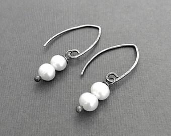 Pearl Earrings, Genuine Gemstone Jewelry, Artisan Earrings, Simple Earrings, Under 50, Gifts for Her, Jewelry Sale