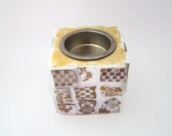 Gold and White Mosaic Tea Light / Candle Holder - Broken China Mosaic Tealight Holder - Christmas Decor - Gift Idea