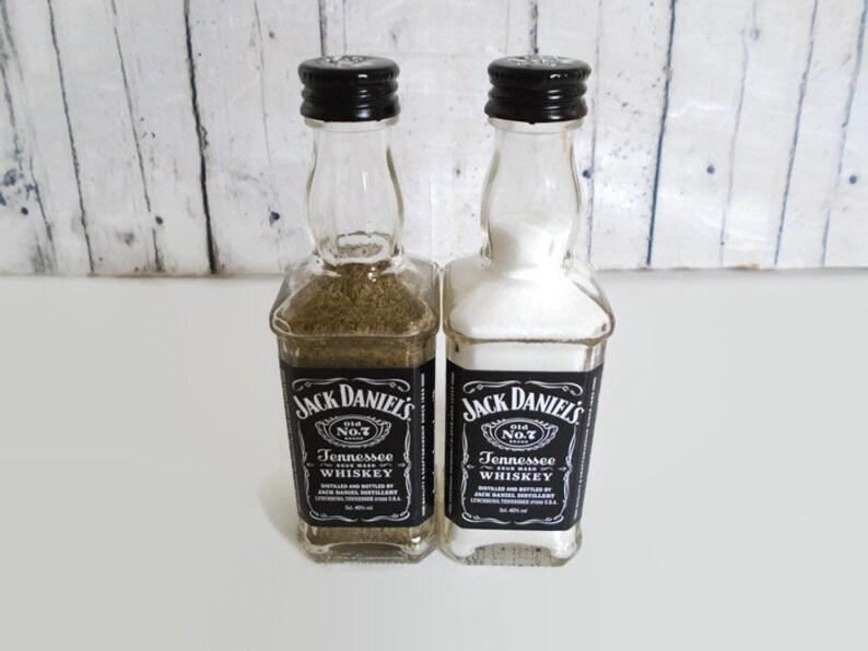 Jack Daniels Salt and Pepper Shakers Upcycled Mini Glass Whiskey Bottles ChristmasNovelty Gift Idea Rustic Decor