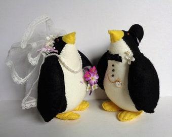 Soft Sculptured Penguin Bride and Groom Wedding Decoration or Gift