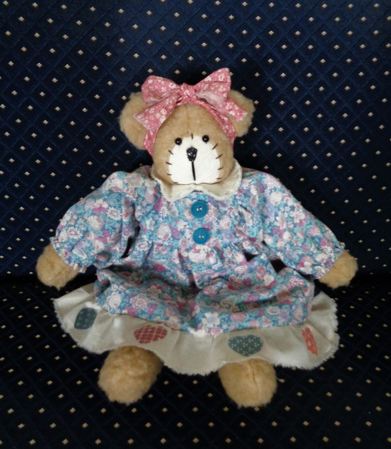Handmade Girl Bear With Floral Dress and Bloomers