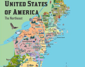 Northeast us map | Etsy
