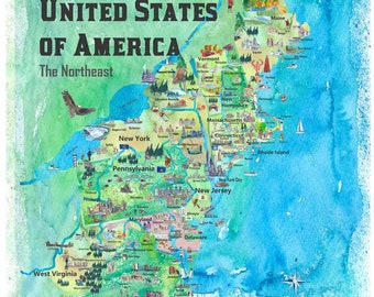 Usa Northeast States Colorful Travel Map Va Wv Md Pa Ny Ms Ct Etsy