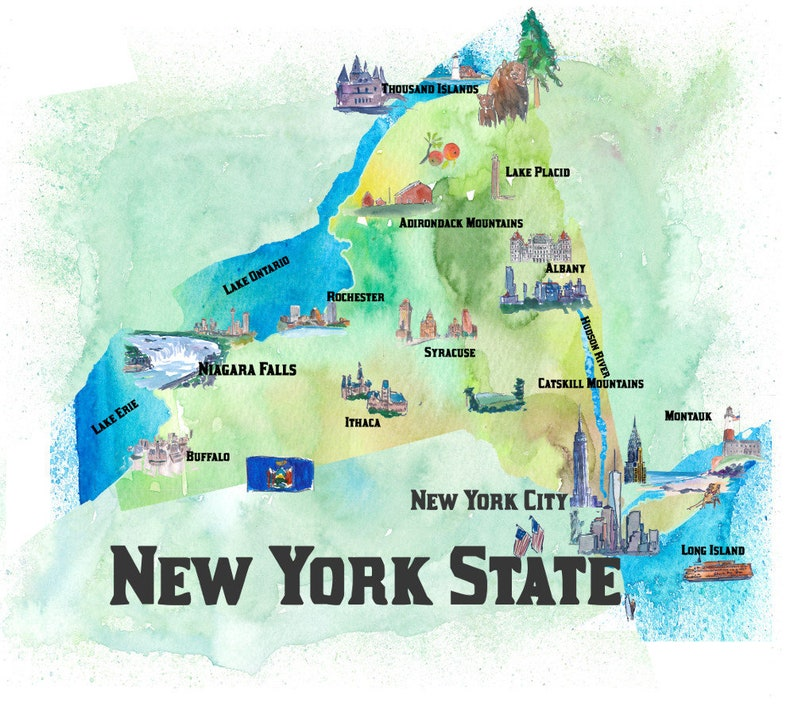 Tourist Map Of New York.Usa New York State Travel Poster Map With Tourist Highlights Art Print