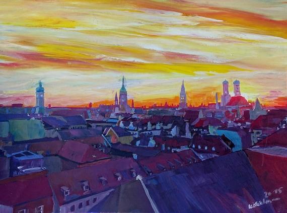 selbstgenäht Bayern // Wiesn // Oktoberfest Skyline München Schlüsselanhänger