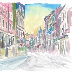 Montreal Quebec Historic Old Street Scene With Sunrise Original Painting available Limited Edition Fine Art Print