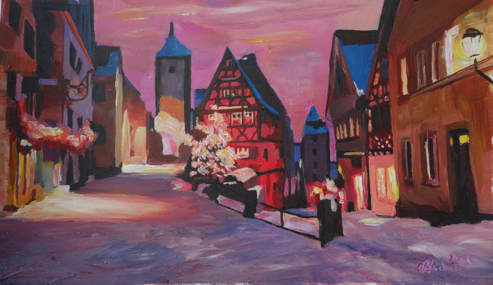 Original Painting available Limited Edition Fine Art Print Dinkelsbuehl Bavaria City Walls and Old Town during Sunset