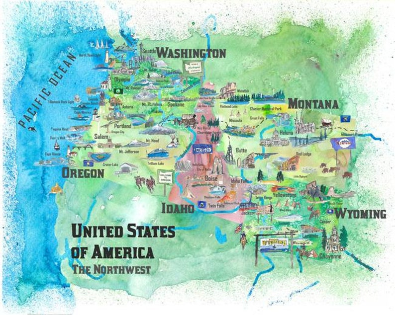 USA Northwest States Illustrated Travel Poster Map - Fine Art Print