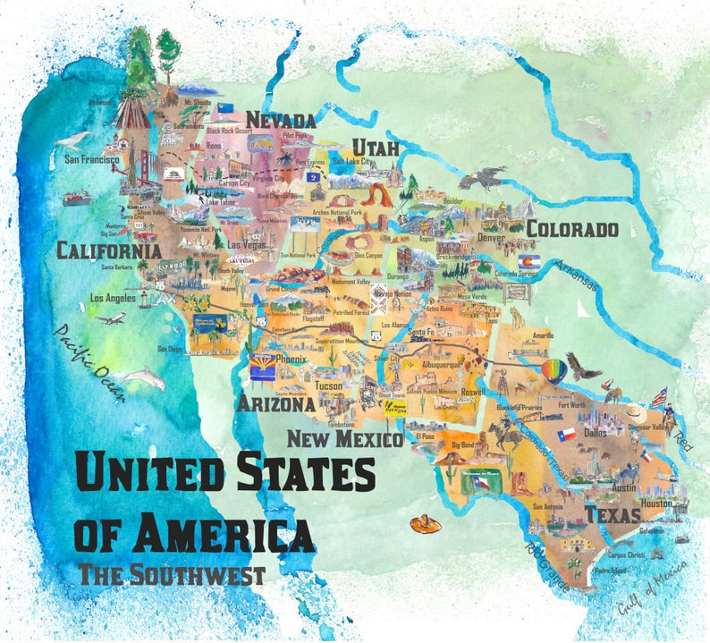 Map Of Southwest Arizona.Usa Southwest States Travel Poster Map Dreaming Of Arizona Utah Fine Art Print