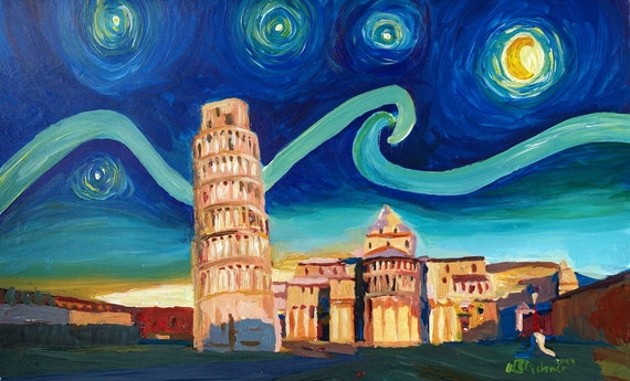 Leaning Tower of Pisa with Cathedral Square Italy Limited Edition Fine Art Print