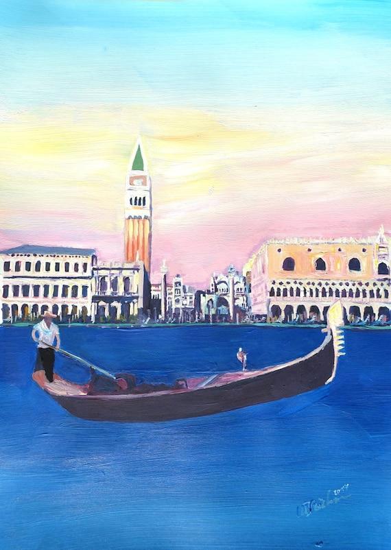 Venice Italy Gondola On Grand Canal With San Marco Fine Art Etsy