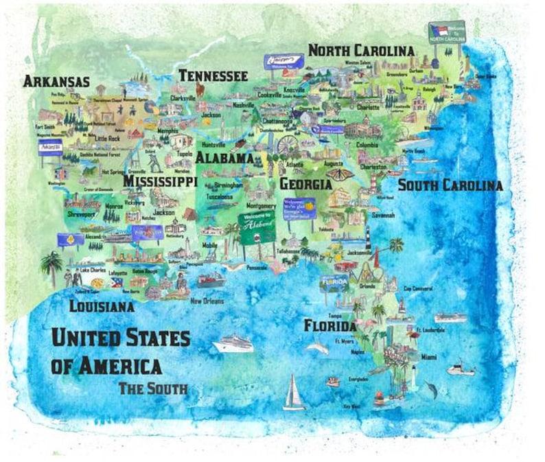 USA Southern States Travel Poster Map Florida Louisiana   Etsy