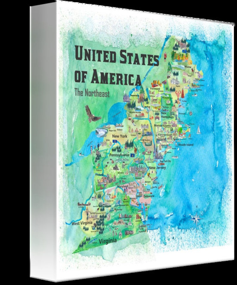 USA Northeast States Travel Poster Map - New England States with Highlights  - Fine Art Print