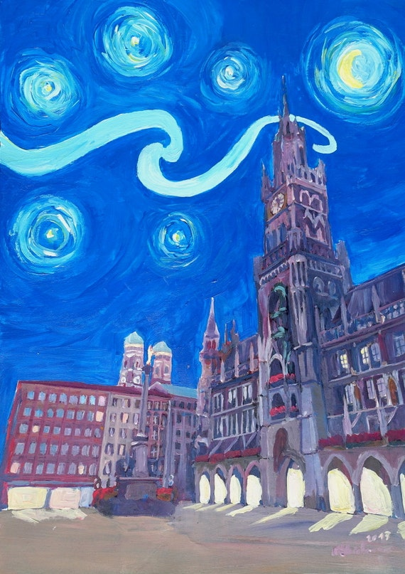 Starry Night In Munich Van Gogh Inspirations With Church Of Etsy