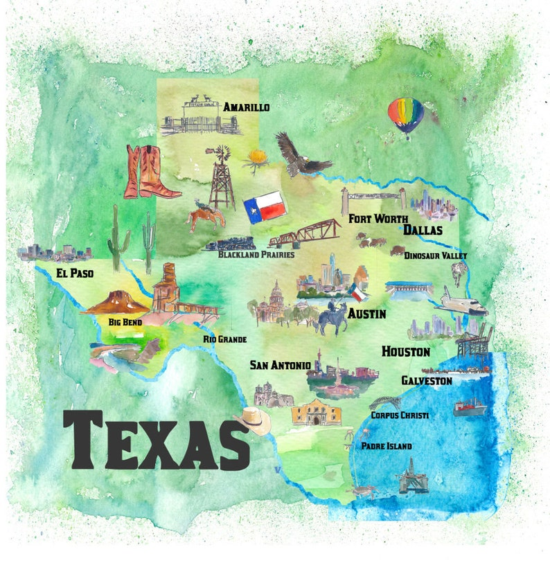 Map Of Usa Texas.Usa Texas State Travel Poster Map With Tourist Highlights