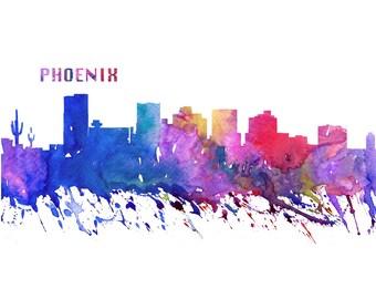 Phoenix Skyline in Clean Scissor Cut Style - Fine Art Print