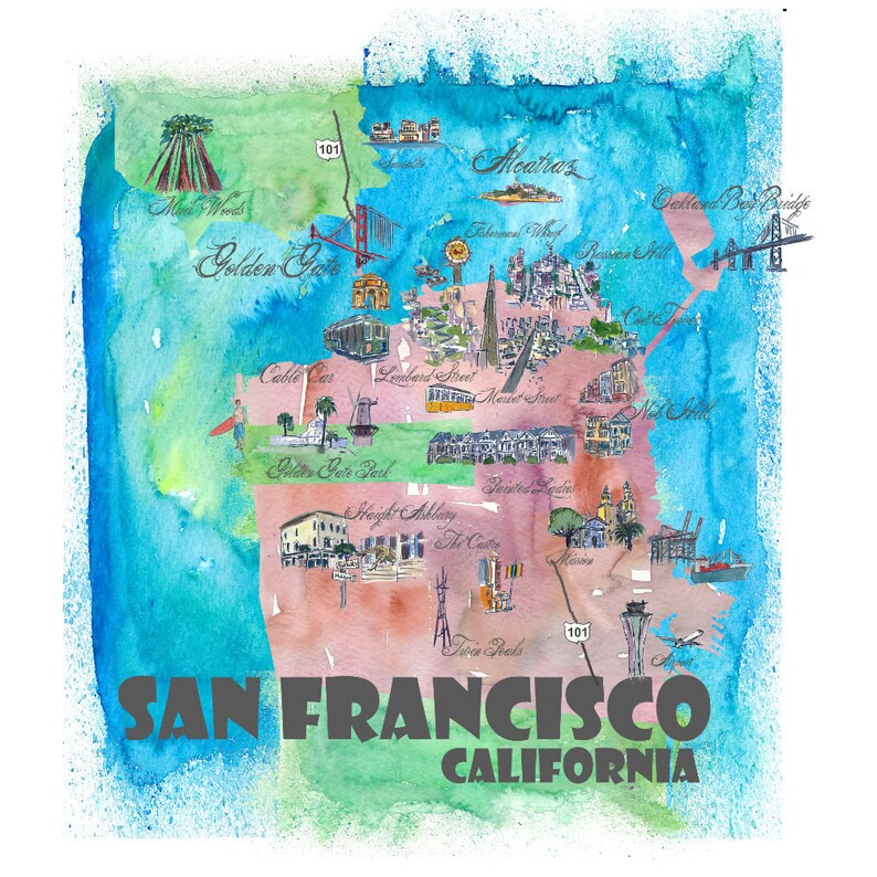 09db3f59e59 San Francisco Illustrated Fine Art Print Retro Vintage