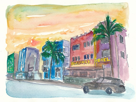 MIAMI BEACH NIGHT FLORIDA NEW A3 CANVAS GICLEE ART PRINT POSTER