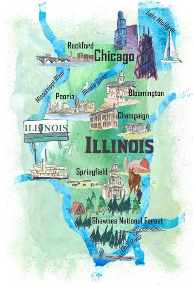 USA Illinois State Travel Poster Map with Tourist Highlights on detroit map usa, the word usa, hispanic population map usa, new york on map of usa,
