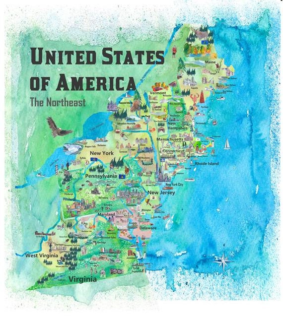 USA Northeast States Travel Poster Map New England States | Etsy