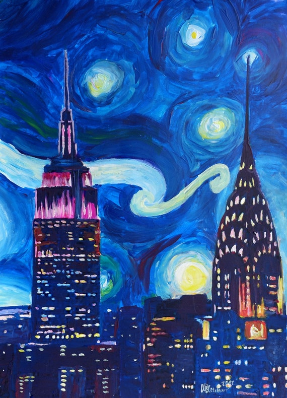 Starry Night In New York Van Gogh Inspirations In Manhattan Etsy
