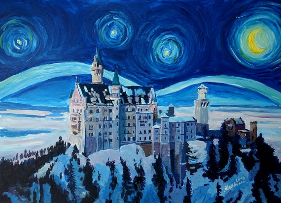Starry Night In Neuschwanstein Romantic Castle Inspired With Etsy