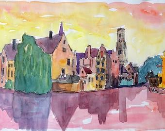 Enlighted Bruges Old Town in West Flanders Belgium - Fine Art Print - Original Available
