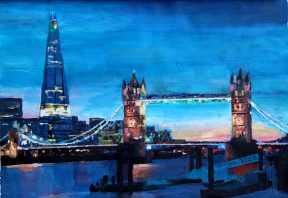 London Tower Bridge With The Shard Painting Fine Art Print Etsy