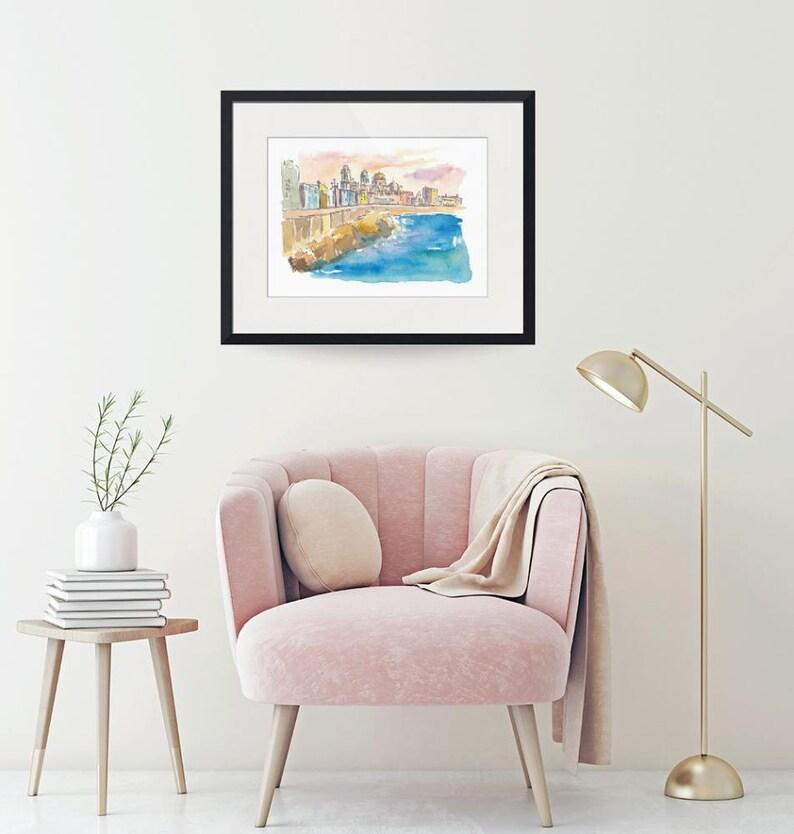 Limited Edition Fine Art Print Original Painting available Cadiz Costa De La Luz Waterfront